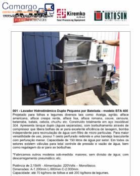 Lavador hidrodinamico por batelada legumes verduras AJM